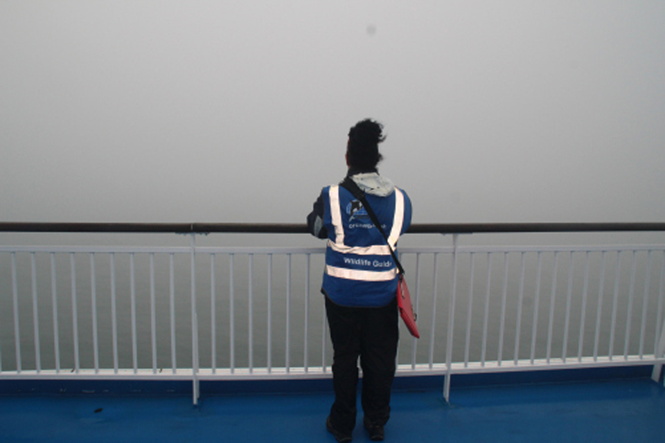 Wildlife Officer Kelly on a misty day aboard the Pont Aven