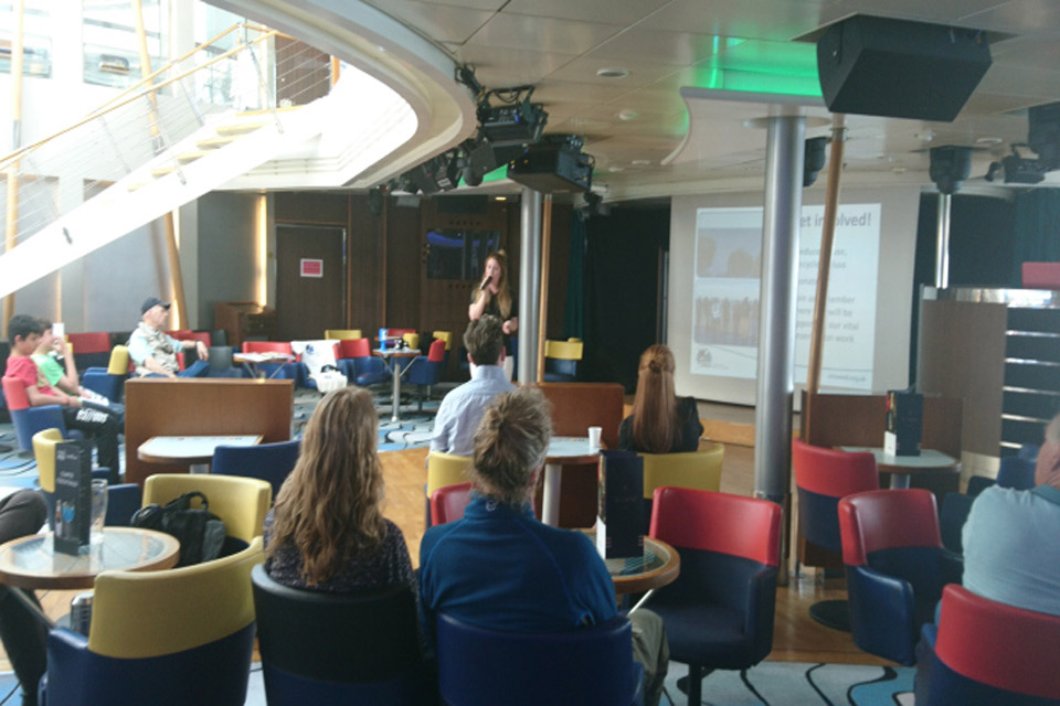 Kate presenting to passengers onboard the Pont Aven