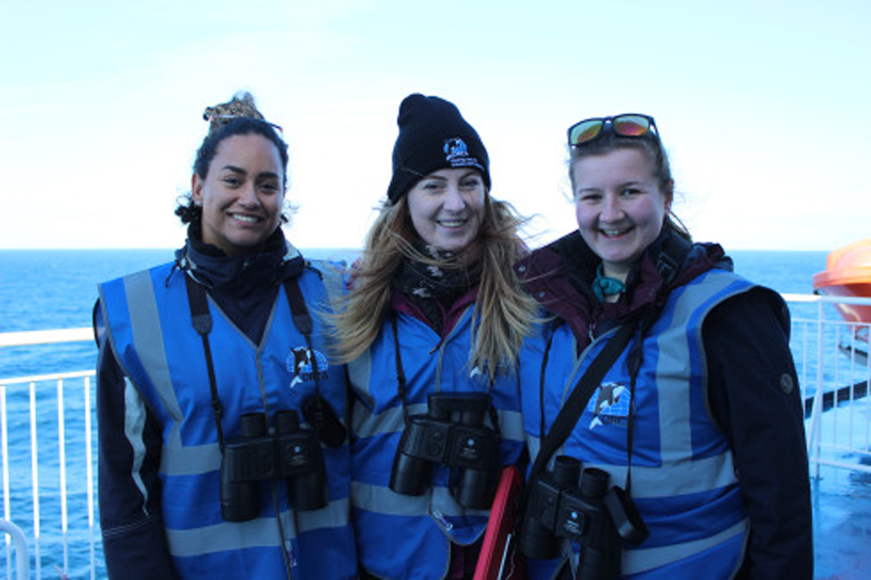 Pont-Aven ORCA Wildlife Officers, L-R - Kelly, Kate & Lucy