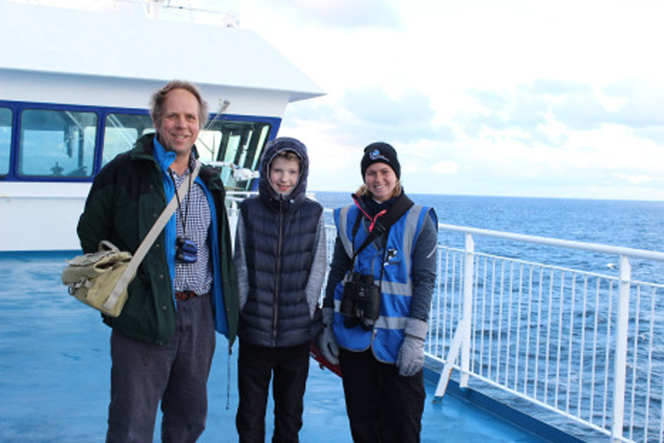 Enthusiastic passengers joining Wildlife Officers on deck!